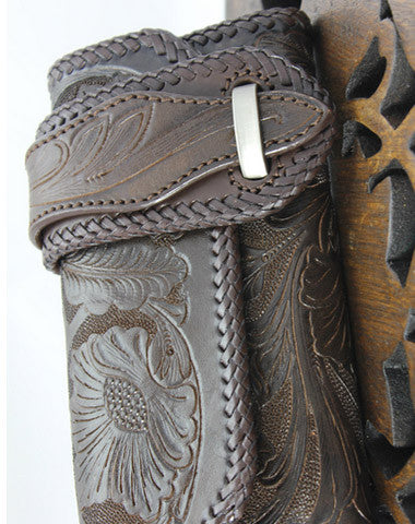 Handmade coffee leather floral grass punk carved biker wallet Long wallet clutch for men