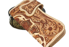 Handmade beige brown leather punk skull carved biker wallet Long wallet clutch for men