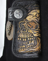 Handmade black leather punk Halley skull carved biker wallet Long wallet clutch for men
