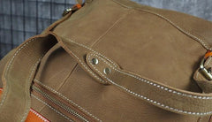 Tan Cool Mens Leather Backpack Travel Backpack Leather Hiking Backpack for Men
