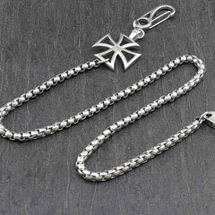 STAINLESS STEEL Long Silver Pants Chain Iron Cross Wallet Chain Biker Wallet CHain For Men