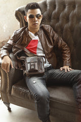Fashion Brown Leather Mens Small Vertical Side Bag Messenger Bag Tablet Bag For Men