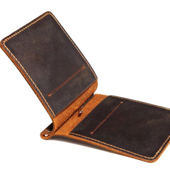 Slim Leather Mens Small Bifold Wallet Money Clip Wallet Short Wallet Front Pocket Wallet for Men