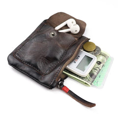 Vintage Brown Leather Men's Coin Wallet Black Small billfold Wallet For Men