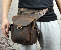 Cool Dark Brown Leather Mens Drop Leg Bag Belt Pouch Waist Bag Small Shoulder Bag For Men