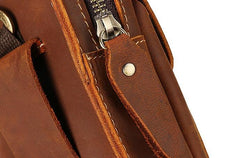 Cool Brown Leather Mens Belt Case Belt Pouch Mini Waist Pouch Belt Bags For Men