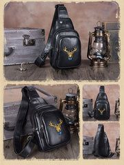 Vintage Black Womens Leather Sling Bag Chest Bags Purses One Shoulder Backpack for Ladies