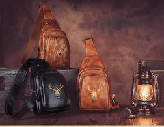 Vintage Brown Womens Leather Sling Bag Chest Bags Purses One Shoulder Backpack for Ladies