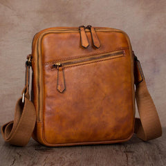 Vintage Small Vertical Leather Black Small Messenger Bag Brown Side Bag Courier Bag for Men