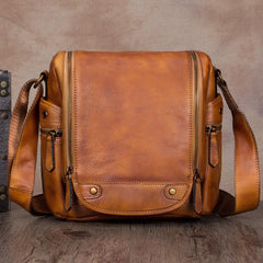 Black Mens Vintage Vertical Small Messenger Bag Brown Leather Side Bag Couier Bag for Men