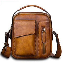 Black Vertical Mens Leather Messenger Bag Brown Side Bag Small Blue Handbag Courier Bag Postman Bag