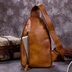 Purple Vintage Womens Leather Fanny Pack Brown Chest Bags Purple One Shoulder Backpack for ladies