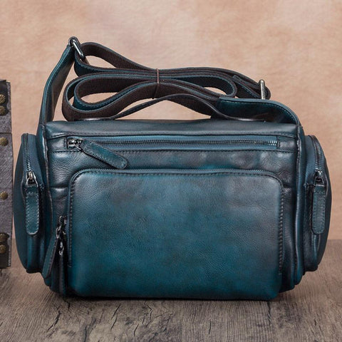 Blue VIntage Mens Leather Small Messenger Bag Tan SIde Bag Brown Courier Bag for Men