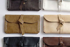 Handmade vintage womens leather long wallet leather envelope long wallet for women