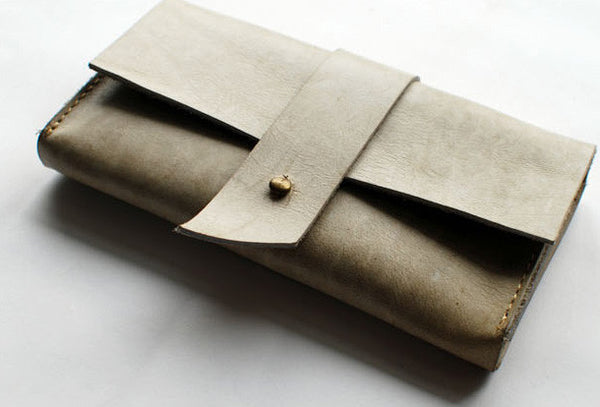 Handmade vintage rustic simple envelope Stitched leather long wallet for women/lady girl