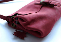 Handmade vintage rustic red leather crossbody messenger Shoulder Bag for women