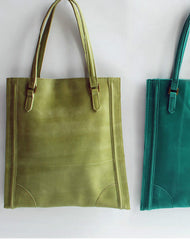 Handmade vintage modern green leather small tote shoulder bag handbag for women