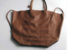 Handmade vintage modern leather large big tote shoulder bag handbag for women