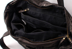 Handmade black fashion leather medium soft big tote bag shoulder bag handbag for women