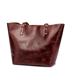 Mens Womens Leather Red Brown Tote Handbag Vintage Shoulder Tote Purse Tote Bag For Men
