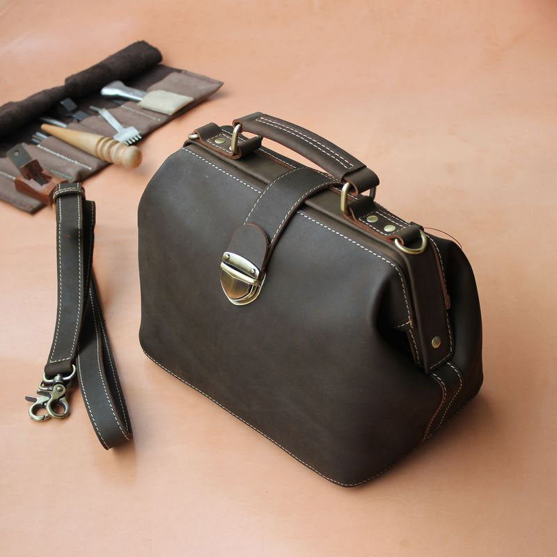 Vintage Womens Coffee Leather Doctor Handbags Shoulder Purse Coffee Doctor Purses for Women