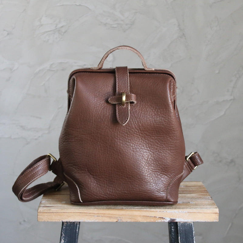 Vintage Womens Coffee Leather doctor backpack shoulder doctor backpack Purse for women
