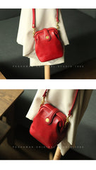 Vintage Womens Red Leather Small Doctor Shoulder Purse Red Doctor Crossbody Purses for Women