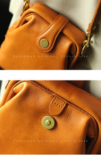 Vintage Womens Yellow Leather Small Doctor Shoulder Purses Yellow Doctor Crossbody Purses for Women