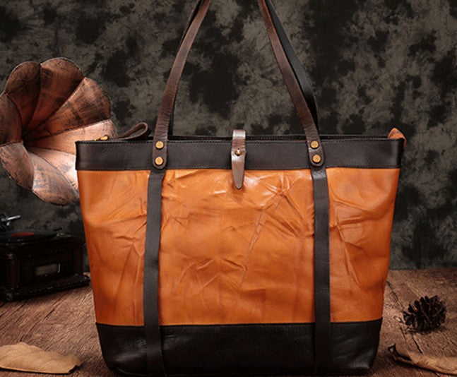 Vintage Brown Large Leather Tote Bag Shopper Bag Big Tote Purses For Women