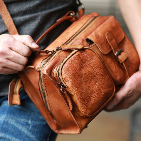 Vintage Brown Leather Mens Messenger Bag Handbag Shoulder Bag for men