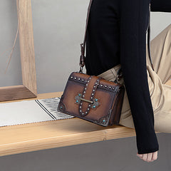 Vintage Brown Leather Small Rivet Shoulder Bag Retro Crossbody Purse For Women