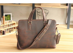 Vintage Dark Brown 14'' Computer Briefcase Mens Leather Briefcase Work Handbags Black For Men