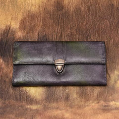 Green Vintage Folded WOmens Leather Long Wallet Red Clutch Bags Purses for Ladies