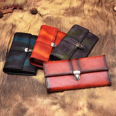 Blue Vintage Womens Long Wallet Leather Red Clutch Wallet Purse for Ladies