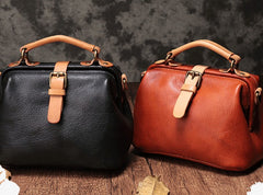 Vintage Handmade Leather Brown Womens Doctor Handbag Shoulder Bag Black Doctor Purse For Women