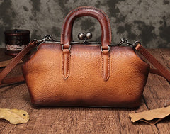 Vintage Handmade Leather Brown Womens Frame Handbag Shoulder Bag Green Crossbody Purse For Women