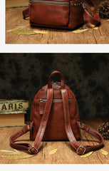 Brown Leather Rucksack Womens Leather Small Backpack Ladies Backpack Purse