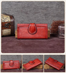 Vintage Womens Long Bifold Wallet Brown Leather Wallet Red Clutch Wallet Purse