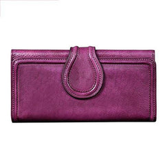 Vintage Womens Purple Long Bifold Wallet Leather Wallet Red Clutch Brown Wallet Purse