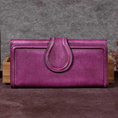 Vintage Red Womens Long Bifold Wallet Brown Leather Wallet Purple Clutch Wallet Purse
