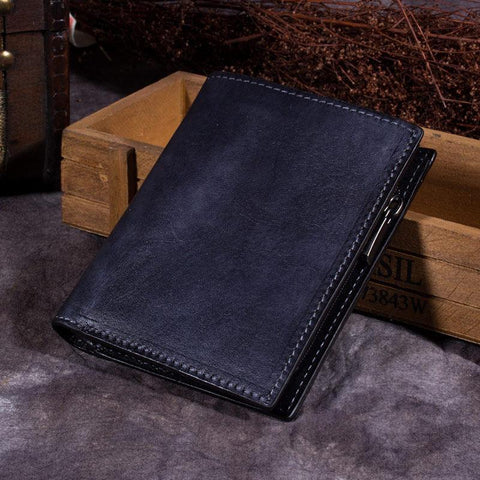 Grey Vintage Womens Leather Bifold Slim Brown Small Wallet BLue billfold Wallet Purse for Ladies
