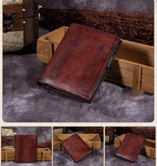Red Vintage Womens Leather Bifold Slim Brown Small Wallet BLue Short Wallet Purse for Ladies