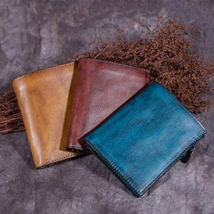 Vintage Womens Blue Small Leather Wallet Bifold Short Wallet Womens Purse for Ladies