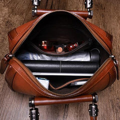 Black Vintage Womens Leather Boston Handbag Purse Brown Side Bag Boston Purse for Ladies