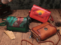 Vintage Leather Brown Womens Small Shoulder Purse Red Shoulder Bag Green Crossbody Purse For Women