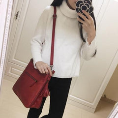 Brown Vintage WOmens Leather Bucket Shoulder Bag Cross Body Bucket Side Bag Red Western Leather Purses