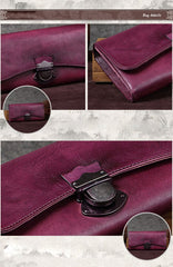 Brown Vintage Womens Leather Long Clutch Red Long Wallet Green Phone Purses for Ladies