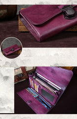 Vintage Bifold Leather Wallets For Women Unique Brown Womens Long Wallets