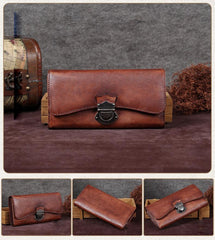 Grey Vintage Womens Leather Buckle Long Wallet BIfold Brown Clutch Phone Purses for Ladies
