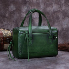Green Vintage Leather Ladies Doctors Handbag Brown Doctor Style Shoulder Bag Purse for Women